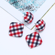 Bohopan Classic Plaid Earrings for Women Flannel Fabric Round Square Dangle Fashion Vintage Female in Jewelry