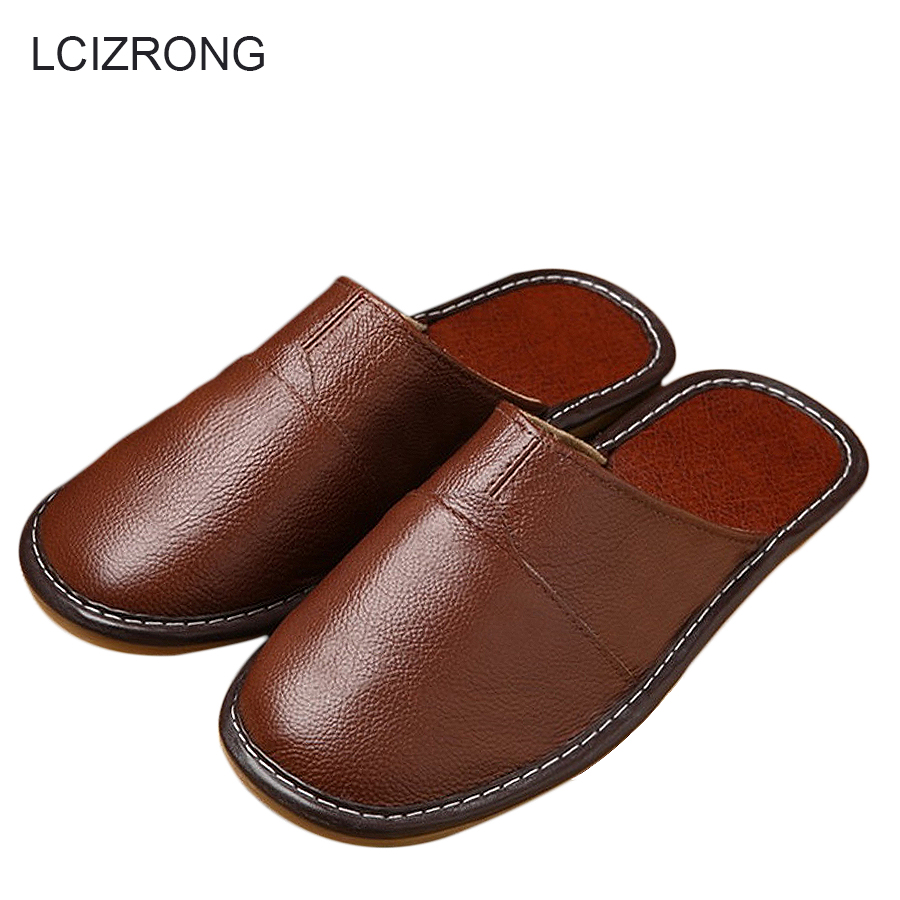 LCIZRONG Genuine Leather Men Slippers 35-44 Size High Quality Home Male Slippers Luxurious Real Cow Leather Unisex Shoes 2018