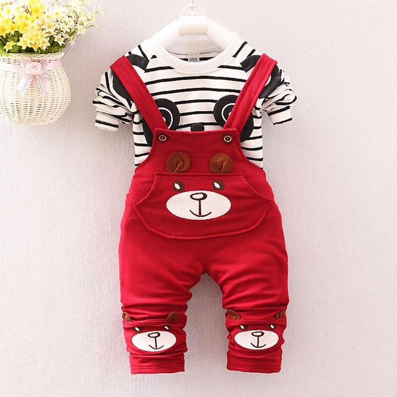Осень 2017 г. Комплекты одежды для мальчиков младенцев длинные полосатые мультфильм футболка с длинными рукавами + комбинезоны брюки для маль...