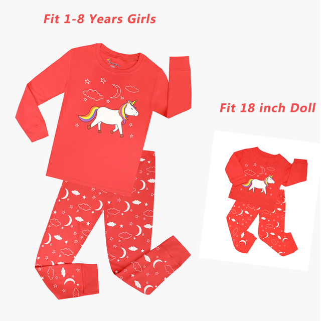 a4ecd7002 Children Clothing Sets Girls Unicorn Pajamas and Doll Pajamas Baby ...