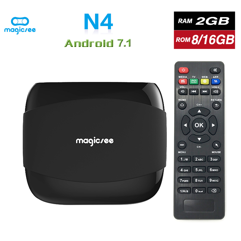 Magicsee N4 Amlogic S905X Android 7.1 TV BOX Quad-core 4K Resolution 2GB/16GB 2G/8G Support 2.4G WIFI LAN HDMI H.265 Smart Box android tv box smart mini projector dlp portable projectors amlogic s905x 2gb 16gb 1g 8g bluetooth 2 4g 5g ac wifi 4k h 265 dhl