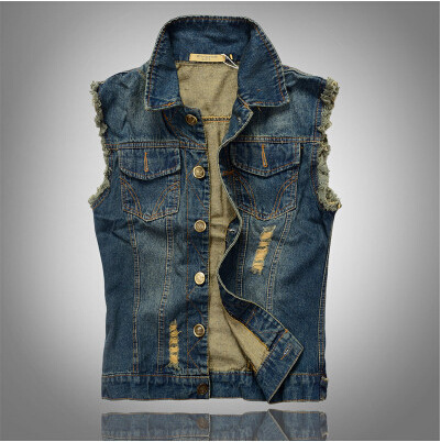 New Arrival Men's Denim Vest Brand Jeans Vest Men Cowboy Vest Denim Sleeveless Jacket Plus Size Free Shipping
