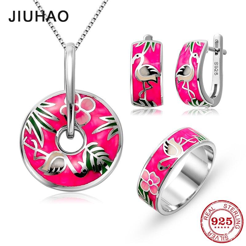 Ensemble de bijoux fleur rose pâle rouge-couronné grue ensembles de bijoux émail anneau boucles d'oreilles pendentif 925 en argent Sterling mariage de mariée