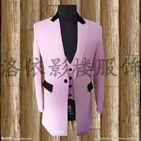 Бесплатная доставка Мужской Розовый с черной нашивкой смокинг костюм/сценический костюм куртка жилет со штанами