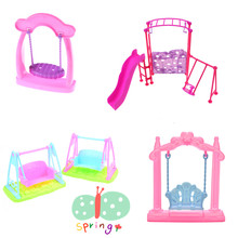 Miniature Furniture Doll House Girl Play House Doll Amusement Park Slide Handmade Cute plastic Swing chair Accessories Doll(China)