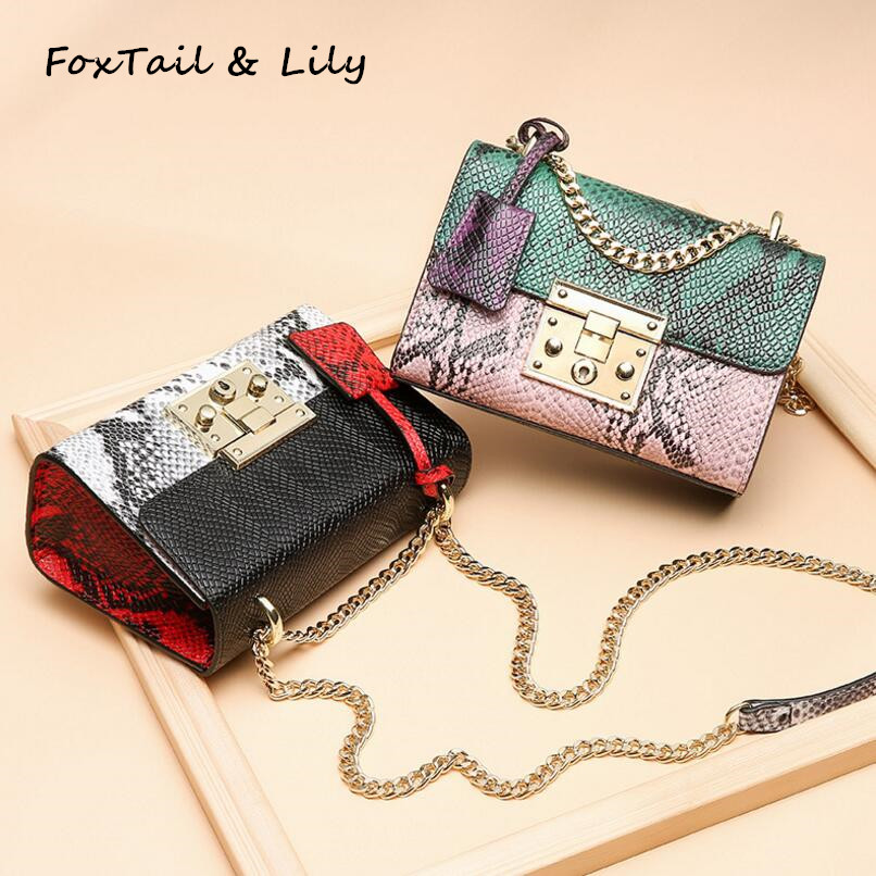 FoxTail & Lily Women Genuine Leather Serpentine Panelled Mini Crossbody Bag Fashion Designer Small Chain Shoulder Messenger Bags vm fashion kiss genuine leather serpentine chain small messenger bags for women high quality mini shoulder bags falp bag lady