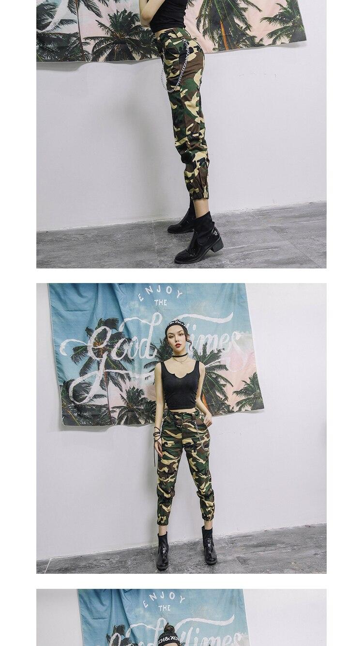 High waist pants camouflage loose joggers women army harem camo pants streetwear punk black cargo pants women capris trousers 12