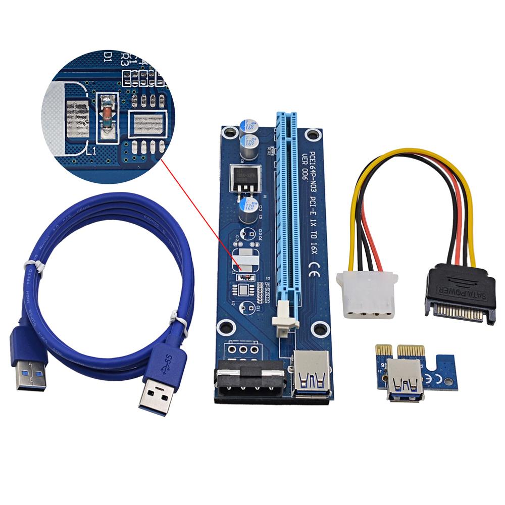 Prix pour 10 pcs Régulateur Tube VER006 100 CM PCI Express PCI-E 1x à 16x Riser carte + USB 3.0 Câble/Broches SATA 4Pin IDE Puissance cordon