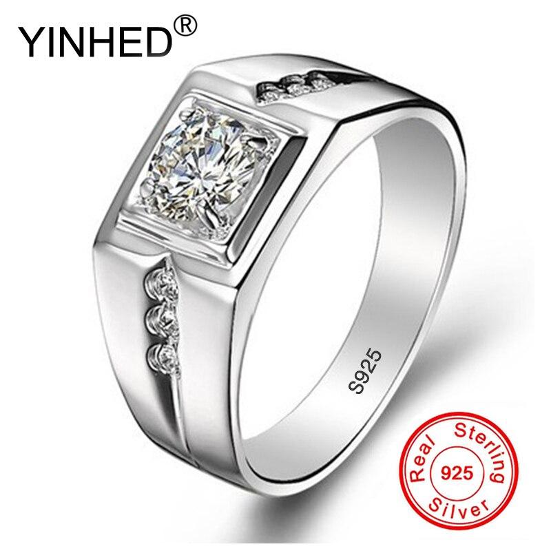 Yinhed real 925 anéis de prata esterlina para o homem venda quente anel de jóias de casamento 0.75 quilates cz diamante anel de noivado zr503