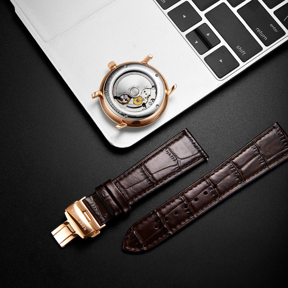 2019 Reef Tiger/RT Top Band Luxury Dress Watch for Men Brown Leather Strap Rose Gold Automatic Watch Montre Homme Clock RGA8215