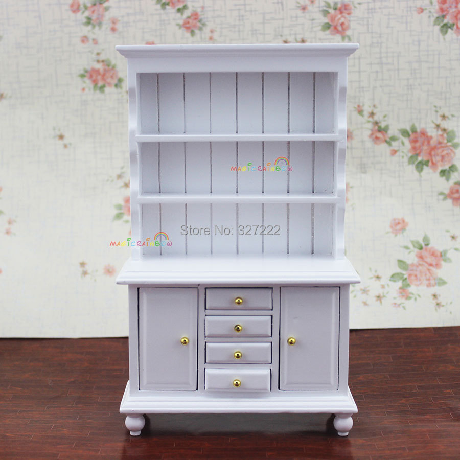 1 12 Scale Dollhouse Miniature Furniture Show Cabinet Kitchen Dining Room Bedroom Cupboard Doll House Wooden Toys