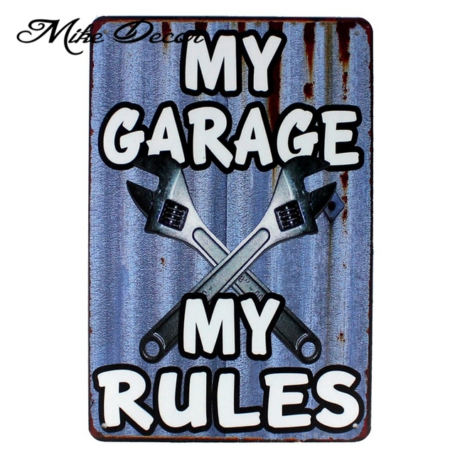 My Garage Rules Wall Sign Plaque Wrench Metal Painting Craft Bar Home 20×30 Cm Aa-1012