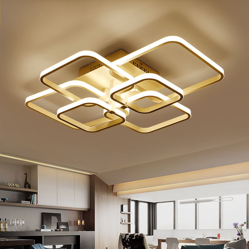 Rectangle Modern led ceiling lights for living room bedroom dining room luminarias led White Acrylic plafondlamp ceiling lamp black or white rectangle living room bedroom modern led ceiling lights white color square rings study room ceiling lamp fixtures