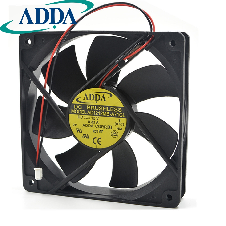 Free shipping original ADDA AD1212LB-A71GL 12cm 120mm 120*120* 25mm 12V 0.24ADC Cooling Computer Ball Brg 2pin FAN adda aa1252mb aw 1225 12025 12cm 120 120 25mm 110v 220v aluminum frame dual ball cooling fan axial fan