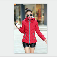 2017 New Autumn Winter Women's  Parkas  Wadded Clothing Female Slim Short Cotton Jacket Hoodied Ladies Coats Outwear M-4XL