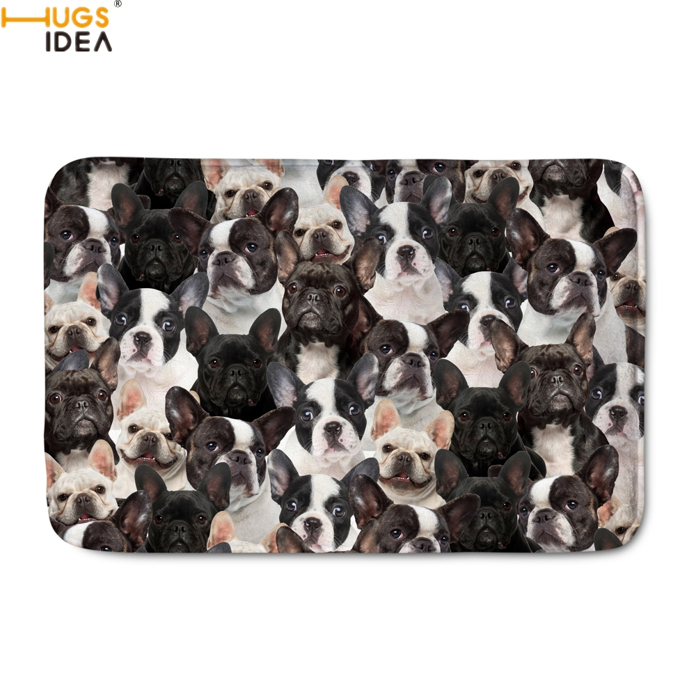 HUGSIDEA Kawaii 3D Dog French Bulldog/Boston Terrier Print Living Room Carpets Home Decor Indoor Doormats Bedroom Welcome Rugs