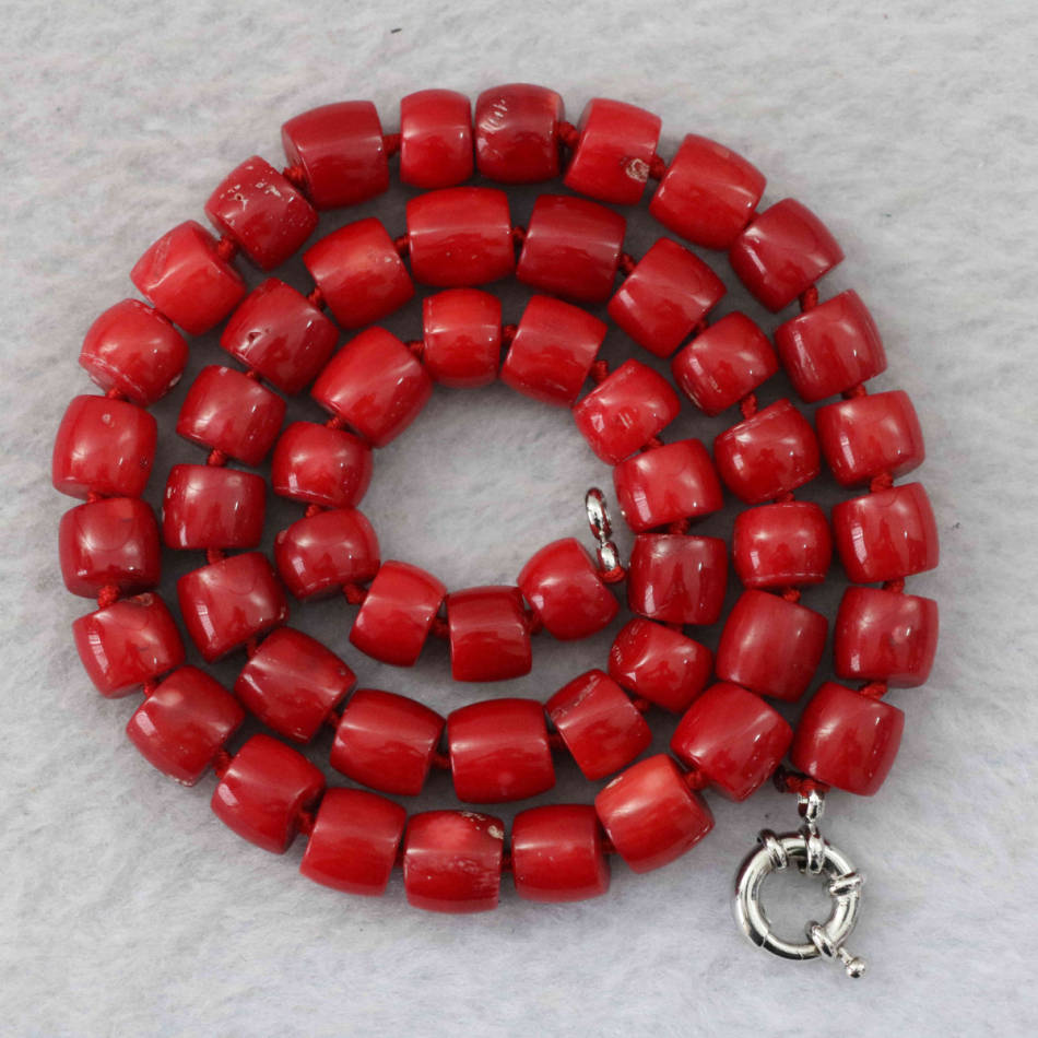 Natural red coral 8-10mm irregular cube abacus rondelle beads jewelry necklace 18″ B1023