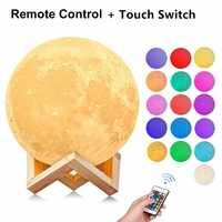 USB Rechargeable Nightlight 3D Print Moon Lamp Photo Custom Personality Color Change Lunar Touch/Remote 2/16 Colors Moonlight