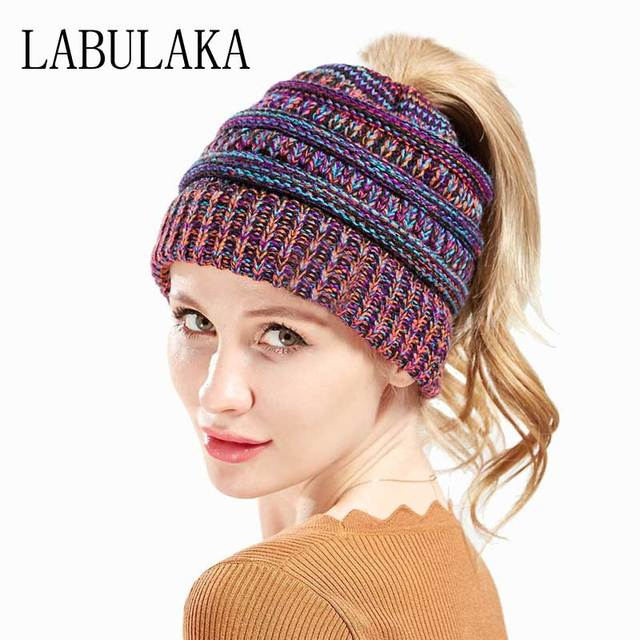 Ponytail Messy Bun Beanies Winter Hats for Women Warm Caps Mix Color  Knitted Woolen Hat Female Skullies Beanies Soft Knit Cap 82534a179a3