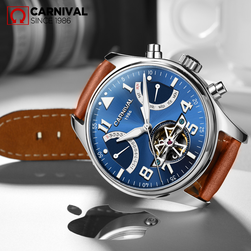 CARNIAVL Sapphire Crysta Men Wrist Watch TopBraand Luxury Fashion Big Dial Cowhide Strap Waterproof Automatic Mechanical