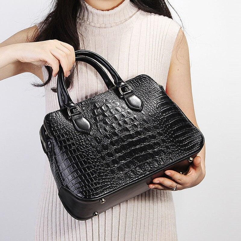 ZENCY cuero genuino de lujo famosa marca de moda de alta calidad de cocodrilo de mujer bolso de mano de las señoras bolso de compras bolso de la bolsa-in Cubos from Maletas y bolsas    2