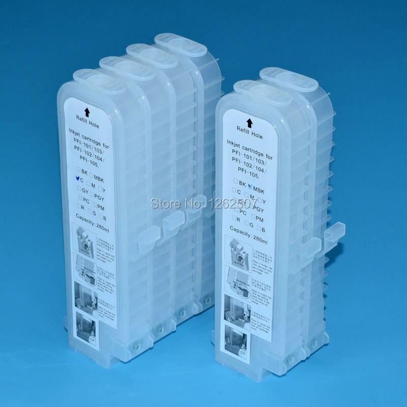 PFI 107 PFI-107 Empty Refillable Ink Cartridge and 5 Liters ink For Canon IPF770 IPF670 IPF670 IPF780 IPF785 Plotters