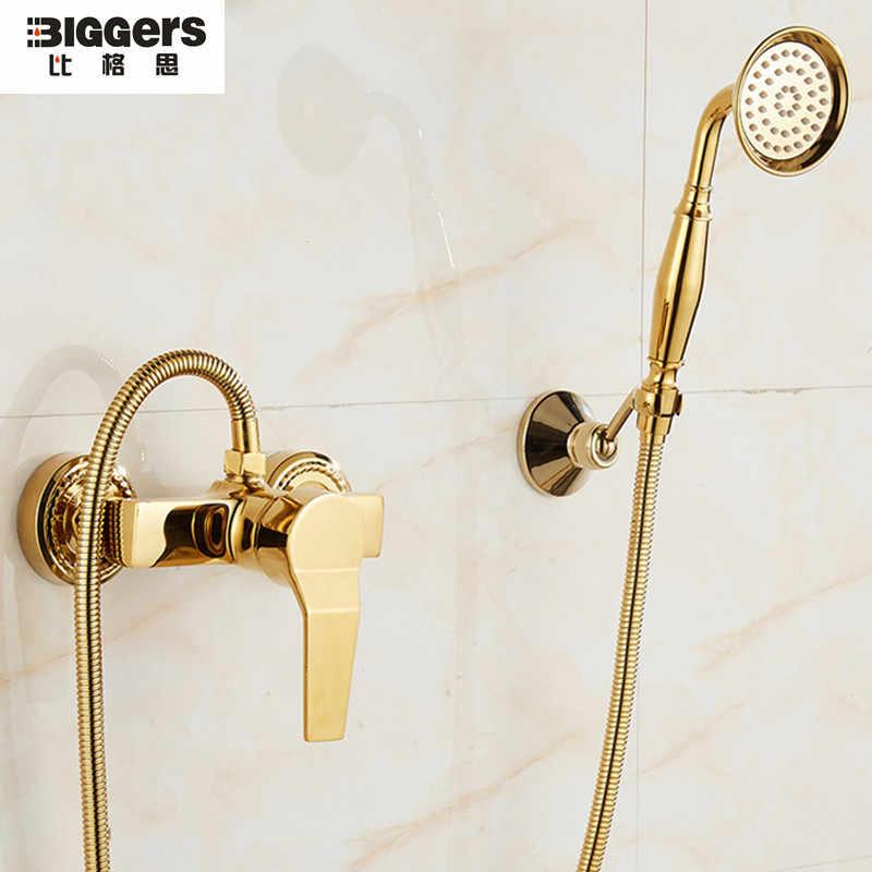 Бесплатная доставка Biggers санитарный золотой цвет медный набор для душа с душевой