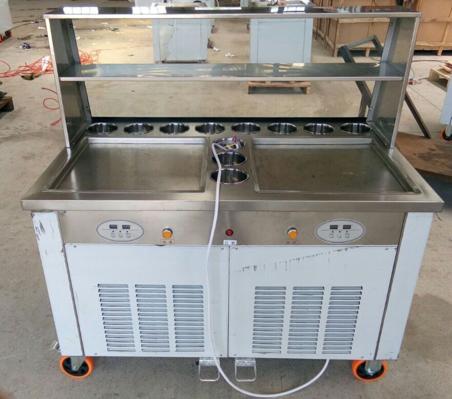 2 round ice pans and 11 topping tanks of ice cream roll machine with R410A Refrigerant (Free shipping by air to airport)