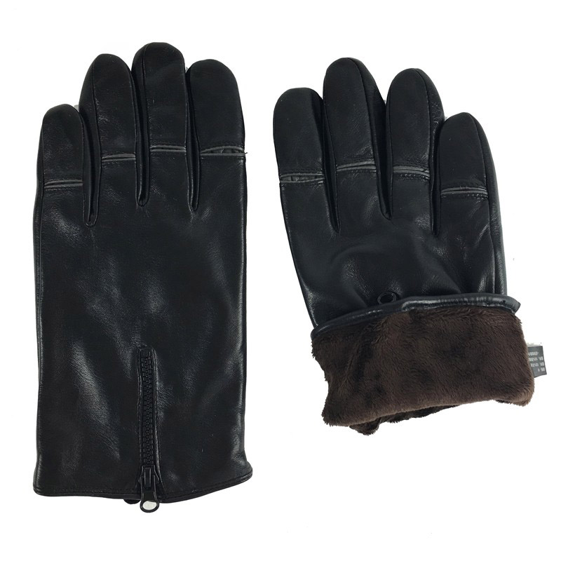 23d52ac3c9f039 M008NC 100% Schapenhuid Mannen Handschoenen Klassieke Stijl Pure kleur  bruin Lederen Handschoenen Winter mannen handschoenen