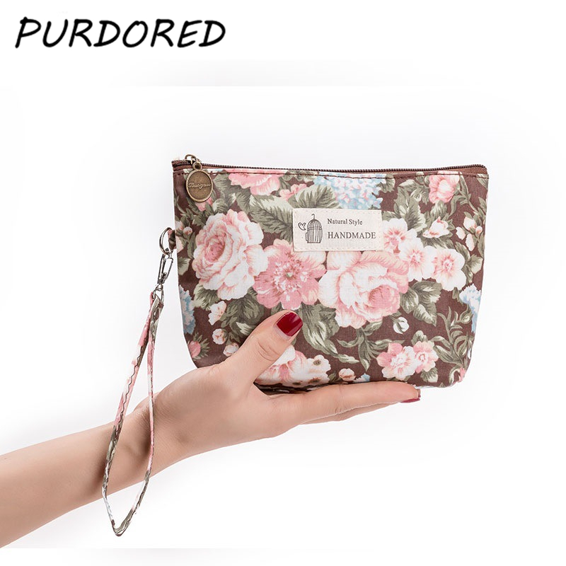 PURDORED 1 pc Portable 3D Printing Flowers Cosmetic Bag Travel Makeup Pouch Women Toiletry Wash Organizer Bag Dropshipping