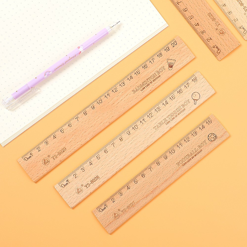 1PC Simple 15cm 18cm 20cm Wooden Ruler Metric Rule Precision Double Sided Measuring Tool Learning School Supplies Stationery