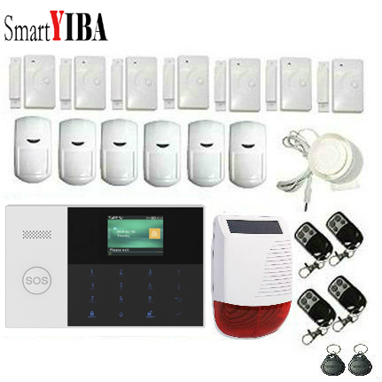 SmartYIBA APP Control 2.4 Inch LCD SOS WIFI RFID GSM SMS Home Burglar Alarm Security System Smoke Fire Sensor Video IP Camera