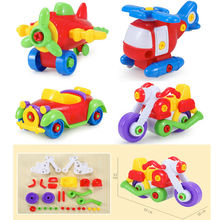 Plastic building blocks puzzle removable car airplane infant early childhood DIY screw nut assembly of toys