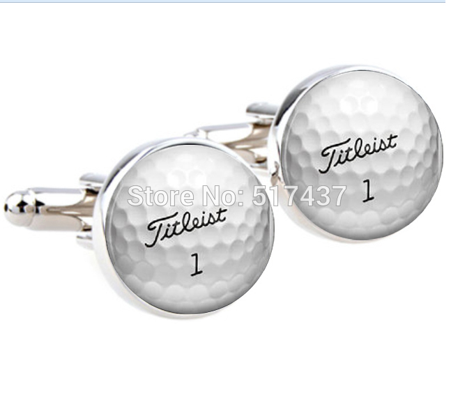 CF-0088 wholesale wedding cufflinks for mens Golf Ball Cufflinks Round Glass Hand made CuffLinks men cuff links pair of stylish stripe pattern round shape cufflinks for men