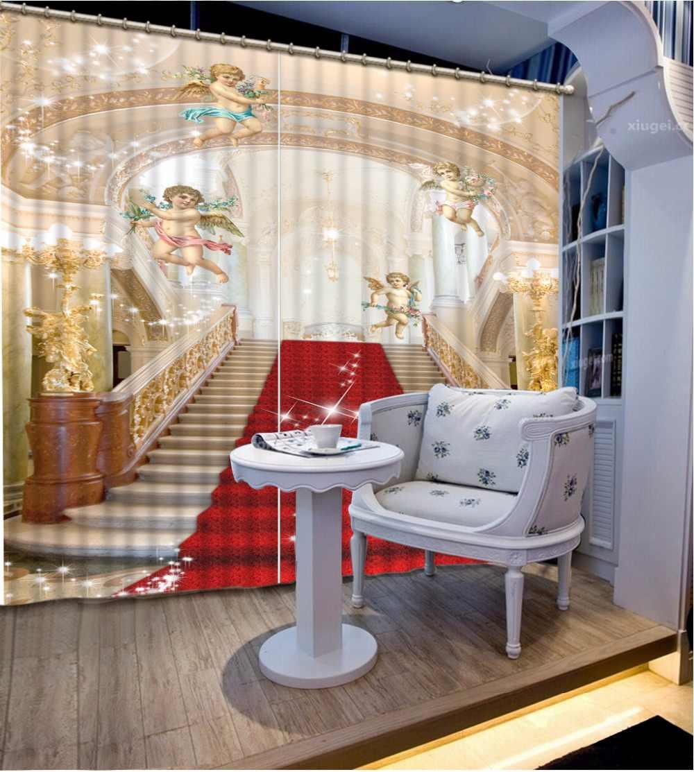 Camera Da Letto di casa Decorazione 3D Tenda Tende Per Camera Da Letto Europeo Scala Tappeto Rosso Blackout Ombra Tende Della Finestra