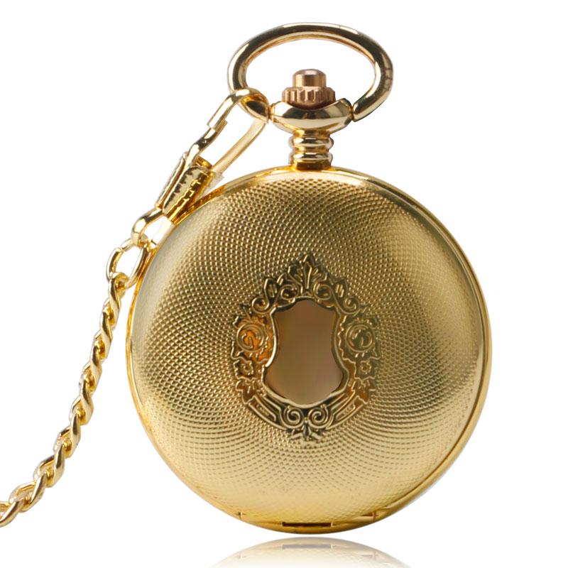 Golden Fashion Trendy Men Shield Scheletro Steampunk catena meccanico automatico infermiera orologio da tasca delle donne