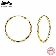 Silvercute Gold Color Round Circle Earring For Women 5 Size 925 Sterling Silver Fine Jewelry Minimalism Earrings Hoops SCE6000 dreamcarnival 1989 2 row thin stones zircon big circle round hoops sterling silver 925 jewelry timeless wedding earring se14743r