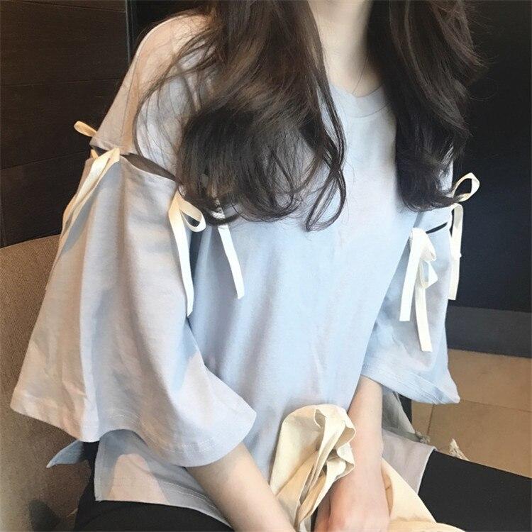 2018 Summer Oversized Tshirt Women's Casual Cute Tees Mosaic Bow Tie harajuku Female Loose Tee Young Girl Tops White Tees