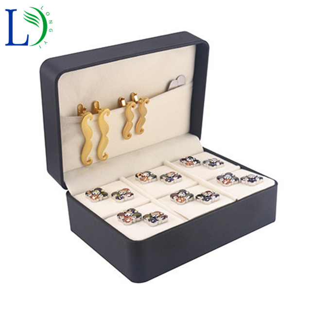 2017 High grade 6 Pairs Cufflinks Box Luxury Jewelry Box Tie Clips