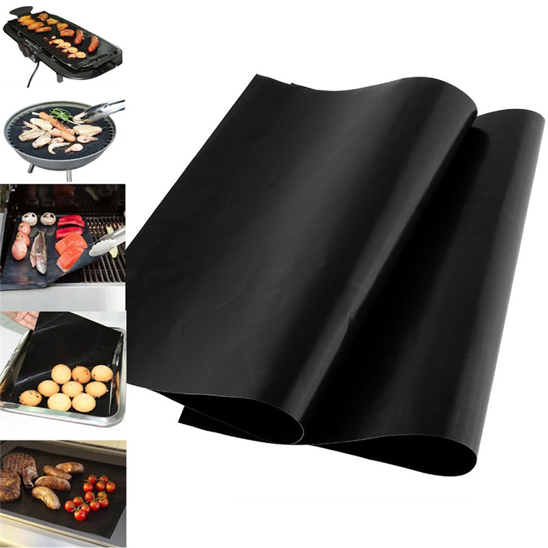 Ho Sale Non-stick Black Reusable BBQ Grill Mat Sheet Baking Cooking Barbecue Pad Kitchen Baking tools