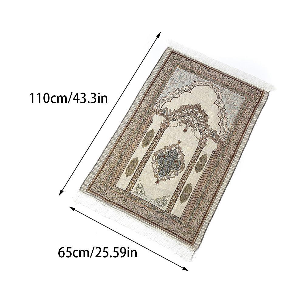 Image 4 - High Quality Prayer Mat Soft Cotton Islamic Rug Musallah Sejadah  Janamaz LUX Floor Mats Thick Exquisite Elegant Prayer BlanketRug   -