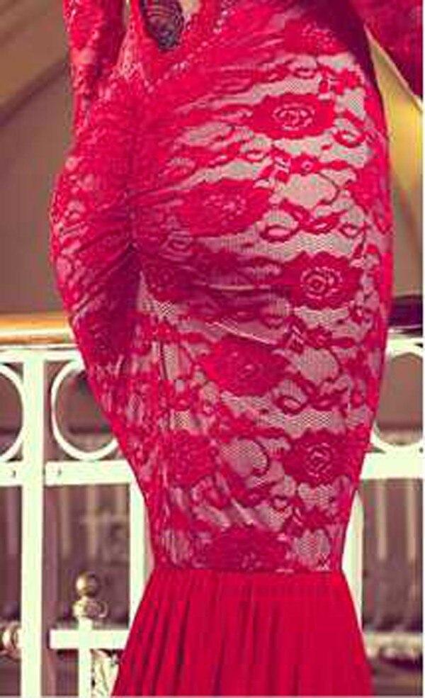 Moderno Vestido Rojo Del Baile Larga De Encaje Ornamento - Ideas de ...
