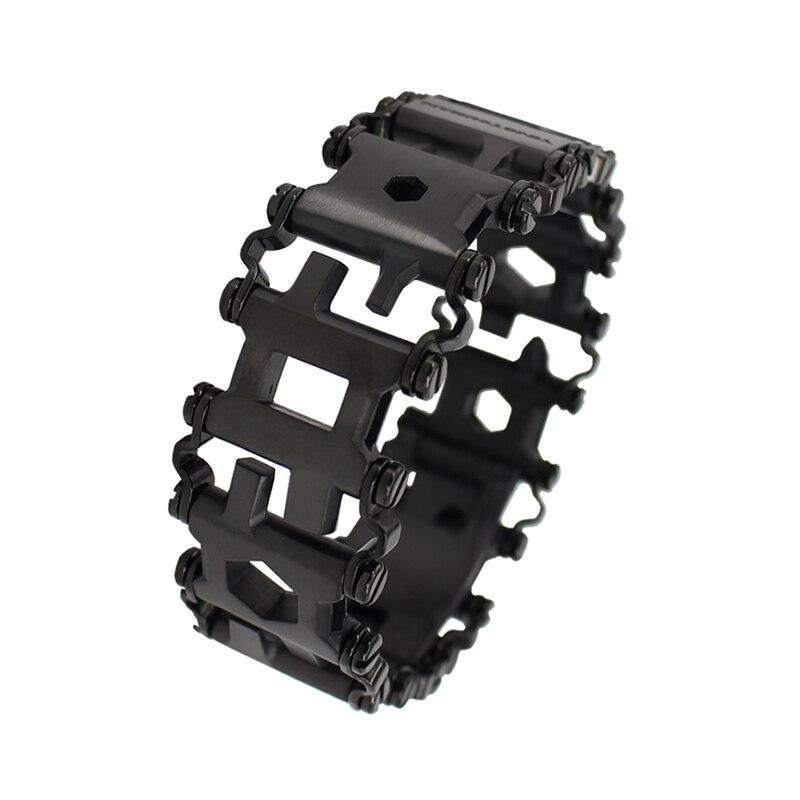 29in1 Acier Inoxydable Multifonction Bracelet Bracelet Tournevis Ouvre-bouteille En Plein Air Survie D'urgence Kit Multi Outil