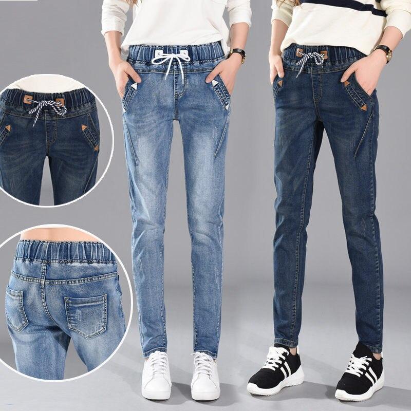Vintage   Jeans   Women High Waist Pencil Pants Casual Plus Size   Jeans   Boyfriends Elastic Streetwear Mom   Jeans   Black Female Q1113