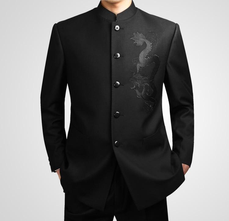 Costume tunique chinoise noire Costume col montant traditionnel pour hommes Costume Leader de l'apec Costume homme broderie Dragon Totem Costume