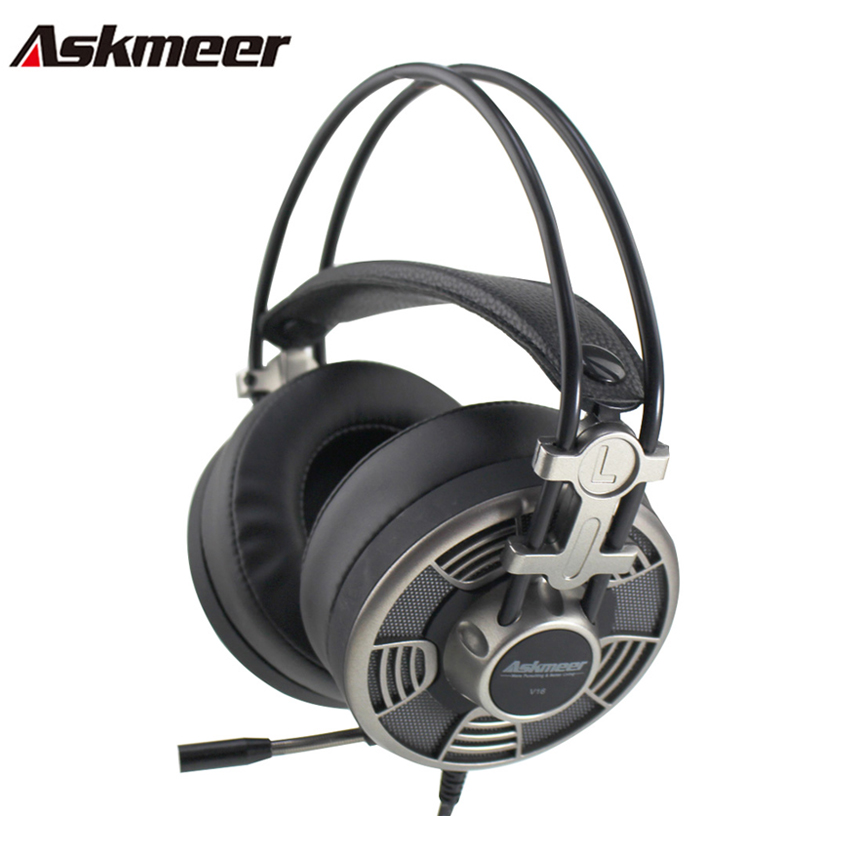 Askmeer V16 Gaming Headphones casque Super Big Earmuffs Stereo USB Headset Gamer with Microphone LED Light for Computer PC Game high quality gaming headset with microphone stereo super bass headphones for gamer pc computer over head cool wire headphone