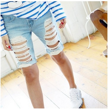 Shorts Women Fashion Ripped Pocket Ladies Jeans Vintage Trousers Women Hole Loose Denim Short Pants B75303J 2016 summer style fashion women s short pants lace ladies jeans denim shorts