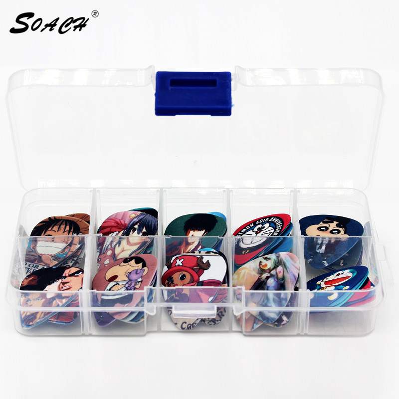 SOACH 50 Pcs Guitar Picks Set Box Case Acoustic Guitar Two Sides Earrings Pick Guitar Accessories Ukulele Bass Guitarra