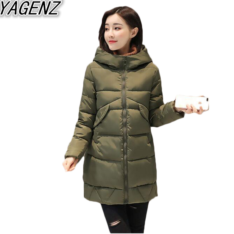 YAGENZ 2017 Winter New Women Korean version Middle-long Hooded Women's Down Jacket Cotton Clothes Female Slim Cotton Padded Coat yagenz 2017 new soft sister winter coat korean version of the long paragraph down jacket cotton winter thick loose cotton