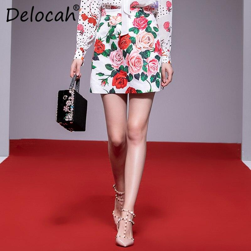 Delocah femmes printemps été jupe piste créateur de mode Rose fleur imprimé élégant mince Jacquard a-ligne jupe dame jupes